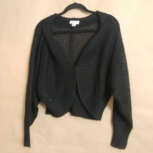 Knit Black Cardigan with Clasp (S) LOFT